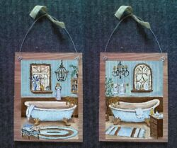 Victorian Pictures Bathroom Tub Sink Paris Style Wall Hangings Old Look