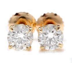 1.05 Carat Natural Si Diamonds In 14k Solid Yellow Gold Stud Earrings
