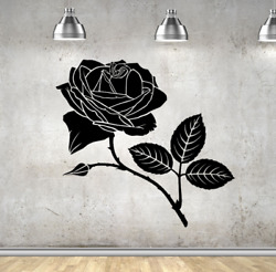 Rose In Bloom Flower Vinyl Wall Art Decal Sticker Decor Oracle Removable
