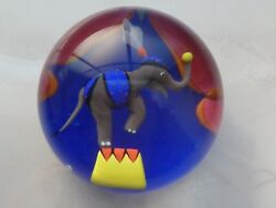 Baccarat Crystal 1998 Le Cirque Elephant Equilibrist Paperweight 76100  COABox