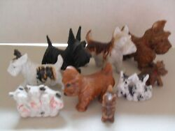 Lot of 9 Vintage Scottie Dog Scottish Terrier Figurines