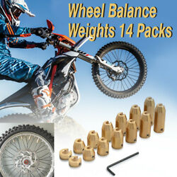 14 Pack Motorcycle Reusable Brass Wheel Spoke Balancer Tires Weights Refill Kits