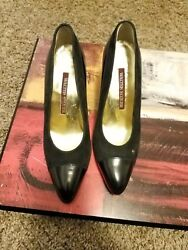 Walter Stieger Women's Black Leather, Suede Pumps Size 6.5 Hand Made 300