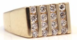 14k Yellow Gold Diamond Cocktail Ring 1.20 Carat High Quality Vs Clarity Square