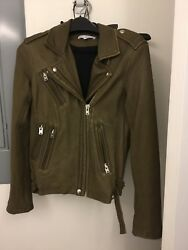 Iro Han Military Green Size 36 Leather Moto Jacket New Without Tags