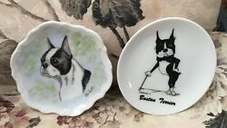 2 small Boston Terrier Plates ~ 1993 comical McCartney + Hand painted dog head