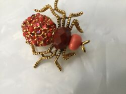 Joan Rivers Crystal Rhinestone Beetle-bug Spider Brooch Pin. Orange red