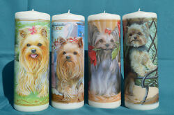 Danbury Mint Yorkie Tall Candle Set of 4 Yorkshire Terrier Dog Rare