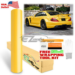Premium Gloss Glossy Yellow Vinyl Wrap Sticker Decal Air Release Bubble Free