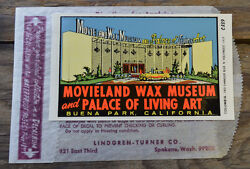 Original Vintage Travel Decal California Movieland And Wax Museum Auto Luggage