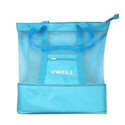 Mesh Beach Bag Insulated Picnic Cooler Beach Tote Bag With Zipper Top By VWELL