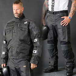 Motorbike Motorcycle Cordura Textile Jacket/pant Ce Approved Armours Black Alive