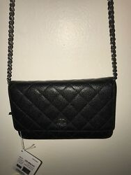 Authentic Chanel Black Caviar Wallet on Chain WOC Messenger Clutch Bag SHW