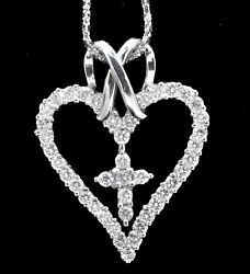 Diamond Cross And Heart Pendant 18k White Gold 1.70ct Round Large Size