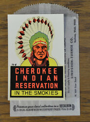 Original Vintage Travel Decal Cherokee Indian Resrvation Great Smoky Mountains