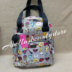 Betsey Johnson Emoji Backpack Tote Travel Diaper Bag Polka Dot Hearts Handbag