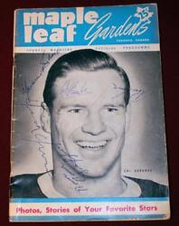 1951 Canadiens Maple Leafs Program Signed Maurice Richard Dick Irvin Ross Lowe
