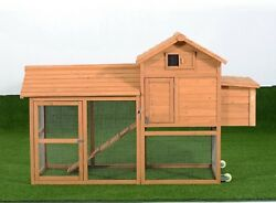 Pawhut Deluxe Portable Backyard Chicken Coop W Fenced Run And Wheels
