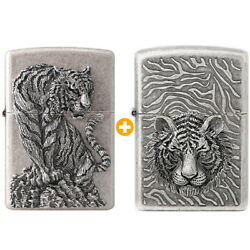 Zippo Two Types Tiger Lighters Genuine 1+1 Org Packing 6 Flints Free Gift