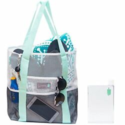Large Mesh Tote Over the Shoulder Grocery Gym and Beach Bag Waterproof with F...