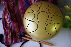 Wuyou 9in 22cm Steel Tongue Drum Handpan Chakra Tank Free Bag+ 2mallets Gold