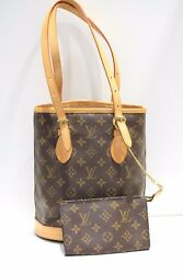 Louis Vuitton Monogram Small Bucket Bag Tote with pochette Made in France