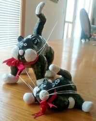 Pottery Cat Figurines Large & Small Black & White Red Bows & Bells Wild Whiskers