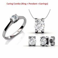 Sterling Silver Caring Combo With Ring Pendant & Earring Free 4Ct MoissaniteCZ