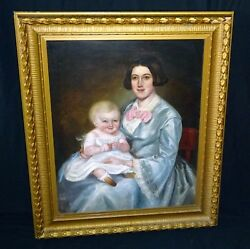 19C Canadian Folk Oil Painting Mother & Baby attrib Robert Whale (1805-87) (Sto)