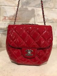 NEW Chanel Red Patent Leather Chain Around WOC Small CC Chain Crossbody Flap Bag