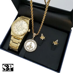 Men Hip Hop Gold Plated Freemason Masonic Watch And Necklace And Earrings Combo Set