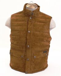 Polo Hunter Brown Quilted Suede Down Vest Men's Nwt 1095