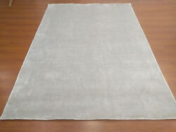 Handmade Woven Knotted Soft Tencel Lyocell Silk Stain-proof Carpet Area Rug Gray
