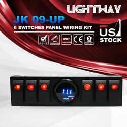 6 Rocker Switch Panel Kit Control Box Digital Voltmeter for 07-16 Jeep Wrangler