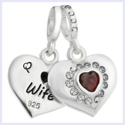925 Sterling Silver Husband And Wife Heart Red Cz Bead For European Charm Bracelet