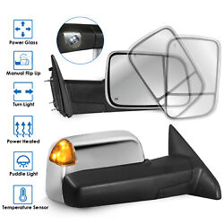 Left+Right Pair Power Heated Tow Mirrors w Temperature Sensor For 09-17 Ram