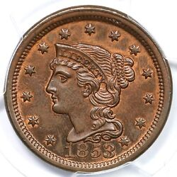 1853 N-26 R-2 Pcgs Ms 63 Rb Braided Hair Large Cent Coin 1c