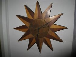 Gorgeous 12-points Arts And Crafts Wood Starburst 8-day Windup Wall Clock 14 Diam