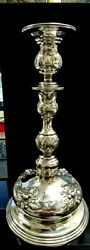 Antique Russian Sterling 875 Silver Candlestick Was Once Converted To Lamp