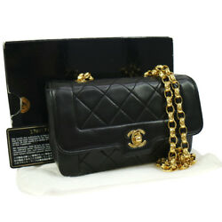 Authentic CHANEL Quilted Chain Shoulder Bag Black Leather GHW EXCELLENT M12697