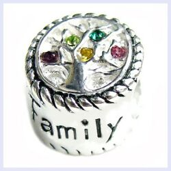 Sterling Silver Family Tree Of Love Pink Yellow Bead For European Charm Bracelet