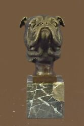 Bronze Sculpture Statue Very Lifelike Gorgeous Bust of a English Bulldog on Soli