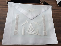 All White Past Master Hand Embroider Apron With Working Tools Past Master Apron