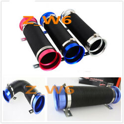 3 Inch Chrome Flexible Short Ram/cold Air Intake Duct Turbo Black Tube Pipe Hose