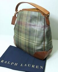 RALPH LAUREN COLLECTION CARLYLE PLAID BROWN LEATHER HOBO WOMEN BAG