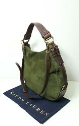 POLO RALPH LAUREN  EQUESTRIAN BROWN LEATHEROLIVE SUEDE WOMEN HOBO BAG