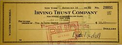 1959 - Walter Winchell Signed Check- To Actors Guild - 11/16/1959 - Irving Trust