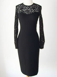 MICHAEL KORS COLLECTION Black Stretch Wool Lace Illusion Dress 2 4
