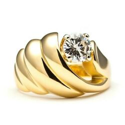4875 Size 6 Natural Enhanced 0.67 Ct Diamond Solid Yellow Gold Ring 14k