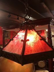 Antique Arts And Crafts Hanging Lamp Bronze And Art Glass